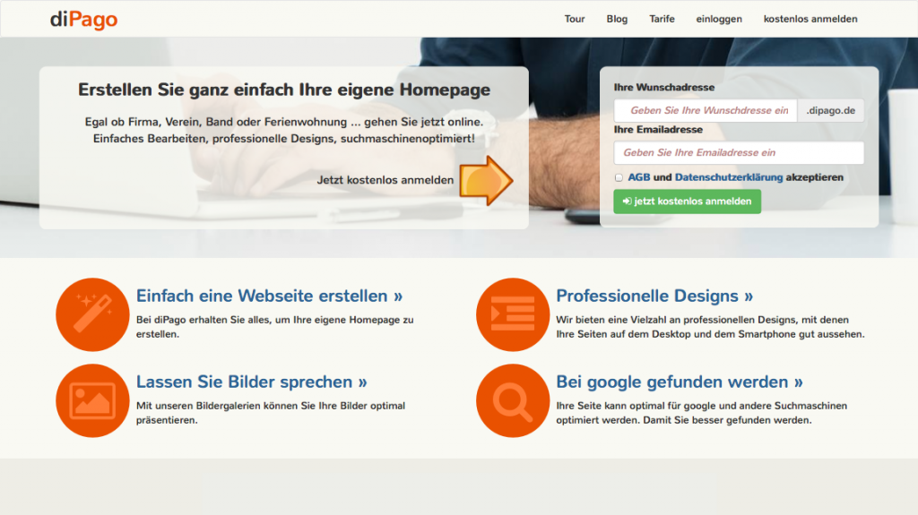 Screenshot www.dipago.de